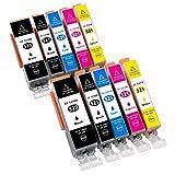 ESMOnline 10 kompatible XL Druckerpatronen (5 Farben) als Ersatz für Canon Pixma iP 3600 4600 4700 MX 860 870 MP 540 550 560 620 630 640 980 990