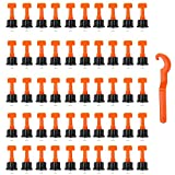 PERFETSELL 50 Stück Fliesen Nivelliersystem Level Wiederverwendbar Fliesen Verlegehilfe Fliesenkeile Kunststoff Bodenbelag Fliesen Handwerkzeuge mit Fliesenschlüssel für Wand und Boden Fliesen