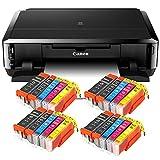Canon Pixma iP7250 mit WLAN, Fotodrucker und CD-Bedruck, Auto Duplex Druck Tintenstrahldrucker + USB Kabel + Set 20 IC-Office XL Tintenpatronen (Originalpatronen Nicht im Lieferumfang)