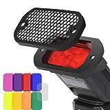 AODELAN Blitz Filter Kamerablitz Gel Beleuchtungsfilter Farbfolien Gitter und Farbiges Gel Filterset...