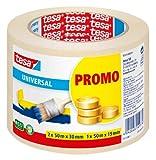 tesa Malerband ECONOMY - Vielseitiges Klebeband für Malerarbeiten ohne Lösungsmittel - Bis zu 4 Tage nach Gebrauch rückstandslos entfernbar - 2 x 50m x 30mm + 1 x 50m x 19mm