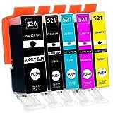 Supply Guy 5 Druckerpatronen mit Chip kompatibel mit Canon PGI-520 CLI-521 für Canon Pixma IP3600 IP4600 IP4700 MP540 MP550 MP560 MP620 MP630 MP640 MX860 MX870
