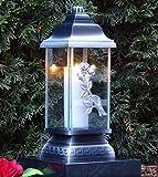 ♥ Grablaterne Rose Ornament Silber 34,0cm incl. Grablicht Grabkerze Grabschmuck Grablampe Grableuchte Laterne Kerze Lampe