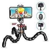 Cocoda Handy Stativ, Flexibel Selfie Stick für Smartphone, Bluetooth Tripod mit Fernauslöser, Tragbar Kamera Stativ Dreibein für Camera & Gopro, Kompatibel mit iPhone 11 Pro Max/XR/X, Galaxy S20 usw