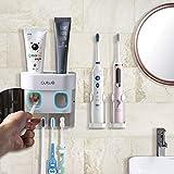 BesLife 2 automatische Zahnpastaspender zur Wandmontage, kommt mit 2 elektrischen Zahnbürstenhaltern, mit staubdichter Abdeckung, 4 Zahnbürstenschlitzen für Dusche und Badezimmer