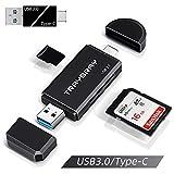 TRAYBRAY USB 3.0 kartenlesegerät, SD/Micro SD kartenleser, 2-in-1 USB Typ C, SD/TF Speicherkartenleser, mit Micro OTG USB 3.0 Adapter für PC, Mac, Windows, Smartphones, SDHC, MMC, RS-MMC, Micro SD