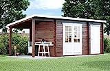 CARLSSON Alpholz Gartenhaus Maria mit Anbau aus Massiv-Holz | Gerätehaus mit 28 mm Wandstärke | Garten Holzhaus inklusive Montagematerial | Geräteschuppen Größe: 450 x 250 cm + 150 cm | Pultdach
