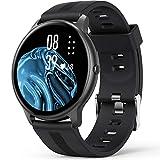 Smartwatch, AGPTEK 1,3 Zoll Armbanduhr mit personalisiertem Bildschirm, Musiksteuerung, Herzfrequenz, Schrittzähler, Kalorien, usw. IP68 Wasserdicht Fitness Tracker Uhr, für iOS und Android, Schwarz