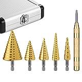 TACKLIFE, Stufenbohrer, 5 tlg. Kegelbohrer 4-12mm /3-19mm /3-13mm /5-22mm /5-35mm, 1tlg. Automatischer Körner Durchschlag, Koffer, HSS Stufenbohrer-Metall robusten, für Stahl, Holz, Kunststoff-PDH06A