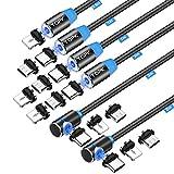 TOPK Magnetkabel Magnetisches Ladekabel , [6Stück 0.5M/1M/1M/2M/2M/3M] 3 in 1 Magnet USB Kabel USB-A zu Typ C Micro USB Kord Kompatibel mit Android Smartphone und L-Produkt (No Sync Daten)Schwarz