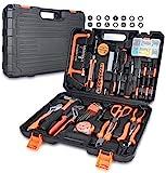 FUNINGEEK Universal Werkzeugkoffer 102-teilig Haushalts-Metallkiste Werkzeug mit Griff für Home Cordless Repair Kit Tool Set