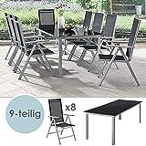 ArtLife Aluminium Gartengarnitur Milano | Gartenmöbel Set mit Tisch und 8 Stühlen | Silber-grau mit schwarzer Kunstfaser | Alu Sitzgruppe Balkonmöbel