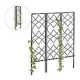Relaxdays Rankgitter Metall, 3er Set, zum Stecken, Rankhilfe für Kletterpflanzen, 122 x 31 cm, Spalier Garten, schwarz