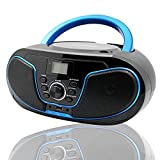 LONPOO CD Player Tragbar Radio Boombox mit Bluetooth, UKW-Radio, USB Eingang & AUX & Kopfhörern...