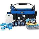Petzoldts XL Fahrzeugpflege-Set Autoflegetasche Carnaubawachs Politur Shampoo Detailer Microfasertücher