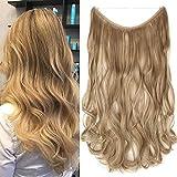 TESS Haarteil Extensions 1 Tresse Ombre Haarverlängerung Synthetische Haare Haarverdichtung 20'(50cm)-90g Gewellt Dunkelblond