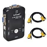 2 Port USB KVM Switch Box VGA + 2Stk Kabel für PC Monitor / Tastatur / Maus-Steuerung (2 Port USB...