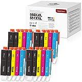 20 BeneToner 550XL 551 XL Ersatz für Canon PGI-550 CLI-551 Druckerpatrone Kompatibel mit Canon PIXMA IP7250 IP8750 MX925 MG5650 IX6850 MX725 MG5550 MG6350 MG6450 MX920