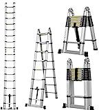 Masko® 3.20m Teleskopleiter Multifunktionsleiter Aluleiter Klappleiter Anlegeleiter