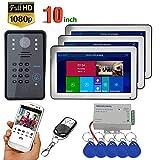 DYWLQSmart Video-Türklingel, Wifi-Bildtelefon, Freisprech-Gegensprechanlage, 10-Zoll-HD-3-Touchscreen-Heimüberwachung, 1080-P-IR-Nachtsichtkamera, Entsperrung der Fernbedienung