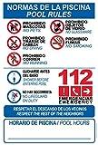 Schild aus robustem PVC – Normen des Pools – Pool Rollen – Warnschild – ideal zum Aufhängen und Hinweisen (englischsprachig), 5