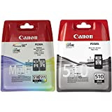 Canon Tintenpatrone CL-511 Mehrfarbig 9ml ORIGINAL & Tintenpatrone PG-510 schwarz Black - 9 ml für PIXMA Drucker ORIGINAL