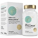 Hyaluronsäure Kapseln - Hochdosiert mit 500 mg pro Kapsel. 90 vegane Kapseln im 3 Monatsvorrat - 500-700 kDa - Angereichert mit Zink, Vitamin C, B12 & Bioflavonoiden - Für Haut, Anti-Aging und Gelenke