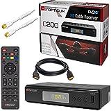 Kabel Receiver DVB-C HB-DIGITAL Set: Opticum HD C200 Receiver für digitales Kabelfernsehen (HDMI SCART USB Mediaplayer) + 2m HDTV Antennenkabel vergoldet mit Mantelstromfilter weiß + HDMI Kabel