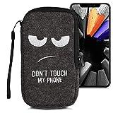 kwmobile Handytasche für Smartphones L - 6,5' - Handy Filztasche - Don't Touch My Phone Weiß Dunkelgrau - 16,5 x 8,9 cm Innenmaße