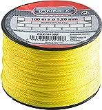 Connex Maurerschnur gelb - 100 m Länge - Ø 1,2 mm - Polyester geflochten - Knotenfest - Reißfest & Belastbar - Auf Spule / Richtschnur / Bauschnur / Lotschnur / Pflasterschnur / COX781562