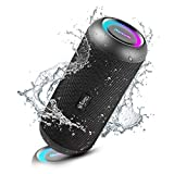 RIENOK Bluetooth Lautsprecher tragbar kabellos Musikbox 30W extra Bass LED Lichteffekte wasserdicht...