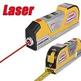 CAMTOA Baulaser Laser Wasserwaage Wasser Waage Laserwaage mit Lineal Bandmaß 2,5M