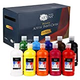 Artina 10er Acrylfarben Set 500ml Crylic - Acrylfarbe für Leinwand, Malkartons und Holz - 10x Mal Farbe mit hoher Deckkraft, Farbkraft und Lichtechtheit