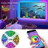 LED TV Hintergrundbeleuchtung mit APP-Steuerung, 3,5 m RGB-LED-Streifen für 40-60 Zoll HDTV...