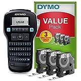 DYMO LabelManager160 Tragbares Beschriftungsgerät Starter-Set   Etikettiergerät mit QWERTZ Tastatur   mit 3Rollen DYMO D1-Beschriftungsband   ideal für's Büro oder für Zuhause