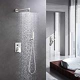 Duschsystem Unterputz Duschset mit Kopfbrause Handbrause Duscharmatur, DUTRIX Regendusche Hochdruck-Niederschlag Duschkopf, Regendusche System einfache Installation