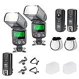 Neewer NW-670 TTL Flash Blitzgerät mit LCD Bildschirm Kit für Canon DSLR Kameras,Inklusive:(2)NW-670 Flash,(1)2,4-GHz-Wireless-Auslöser mit C1/C3 Kabel,(2)Hart & Weich Blitzdiffusor (2)Objektivdeckelhalter