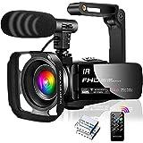 Videokamera Camcorder FHD 1080P 30FPS IR Nachtsicht Videokamera 16X Digital Zoom Digitale Videokamera für YouTube, 3,0'IPS 270 Grad Flip Screen mit Mikrofon,Gegenlichtblende und Handstabilisator