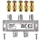 TronicXL 4fach Premium Koax Antennenverteiler HD 3D 4K Verteiler Weiche Splitter zb für DVBT DVBT2...