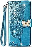 Samsung Galaxy A72 Hülle für Mädchen Glitzer Sparkle Bling Handyhülle 3D Gems Schmetterling Stoßfest Leder Wallet Flip Schutzhülle Folio Shell für Samsung Galaxy A72 Blau