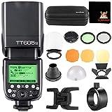 GODOX TT685N TTL Blitz 2,4G i-TTL II Blitzautomatik Blitzgerät mit AK-R1 Rundkopf Zubehör S-R1 Adapter Kompatibel mit Nikon DSLR Kameras (TT685N+S-R1+AK-R1)