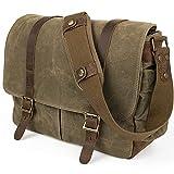 SLR Kameratasche, wasserdichte Leder Wachs-Segeltuchtasche Große Vintage Kameratasche Messenger Bag...