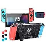 Nintendo Switch Hülle, Transparent Schutzhülle für Nintendo Switch mit Gehärtetem Displayschutz und 6 Joy Stick-Abdeckungen, Passen in die Dockstation