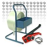 Umreifungsset - 19 mmTextil Umreifungsband 600 m, Spanngerät, Bandabroller, 150 Drahtverschlussklemmen