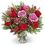 Blumenstrauß Liebeszauber, Rot-rosafarbener Rosenstrauß versenden, Schnittblumen, Blumenversand, gratis Blumenvase, 7-Tage-Frischegarantie, versandkostenfrei bestellen