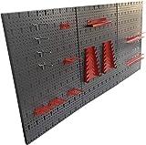 Dreiteilige Werkzeuglochwand aus Metall mit 14tlg. Hakenset, ca. 120 x 60 x 1 cm