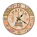 VBARV Rustikale Bauernhaus Holzwanduhr, römische Ziffer große dekorative Vintage Uhren, echtes Holz - Klassische Schwarze Nummerierung - Silent Hardware, für Wohnzimmer Dekor, Küche, Büro