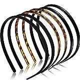6 Stücke Kunststoff Einfach Stirnbänder Zähne Kamm Stirnbänder Dünne DIY Haarbänder Stirnbänder für Frauen Mädchen (8 mm, Leopardenmuster, Kaffee, Schwarz, Gummi Schwarz)