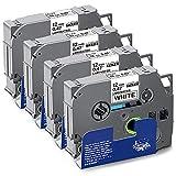 UniPlus 4x Kompatibel TZe 12mm Schriftband Ersatz für Brother TZe-231 TZe231 TZ-231 Tz Tape 0.47 12mm Schwarz auf Weiß für Brother H105 H110 H107B 1010 1000 D400VP D600 E100 D20
