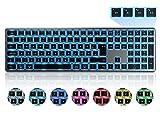 Beleuchtete Bluetooth Funktastatur seenda Kabellose Tastatur mit LED Beleuchtung, Multi-Device (4 Bluetooth) Wireless Keyboard, QWERTZ Layout für Mac/iMac/PC/Laptop/Tablet/iPad/Computer(Space Grau)